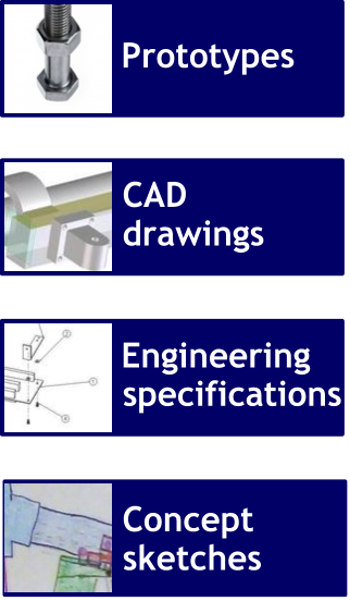 Prototypes, CAD drawings, Engineering specifications, Concept sketches