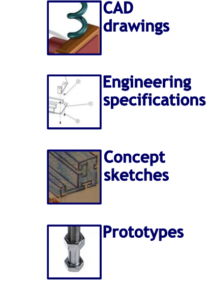 CAD drawings, Engineering specifications, Concept sketches, Prototypes